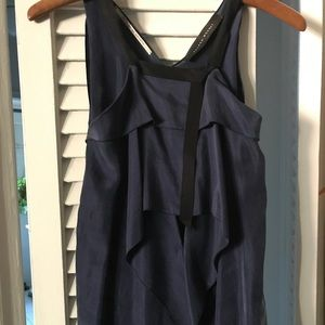 Roland Mouret Navy Silk Top